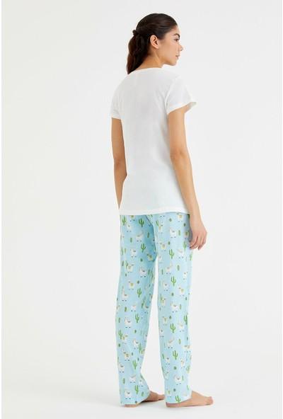 Suwen Bella Pijama Takımı - Cactus Print M