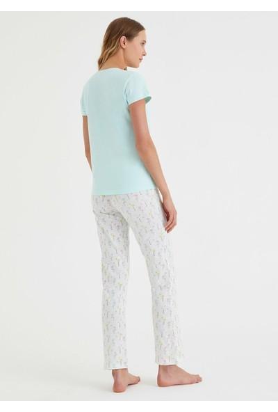 Suwen Bella Pijama Takımı - Flamingo Print L