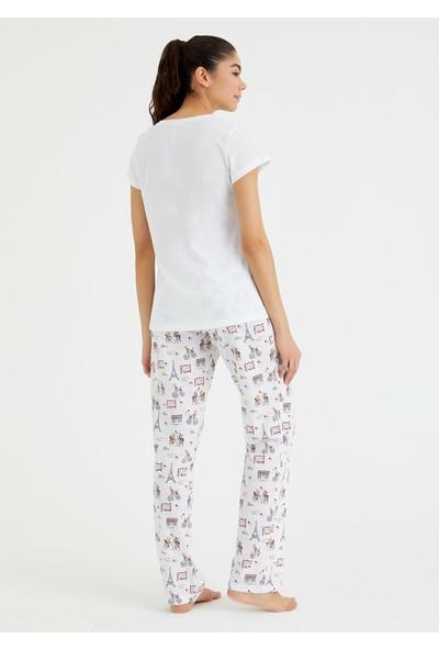 Suwen Bella Pijama Takımı - Eiffel Print L