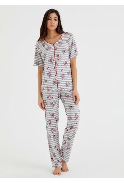 Suwen Griss Maskulen Pijama Takımı - Gri Baskılı M