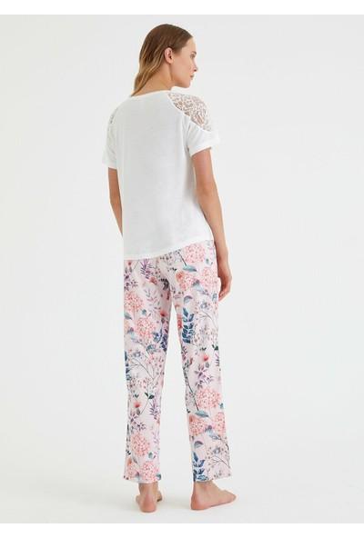 Suwen Poppy Pijama Takımı - Pembe Baskılı M