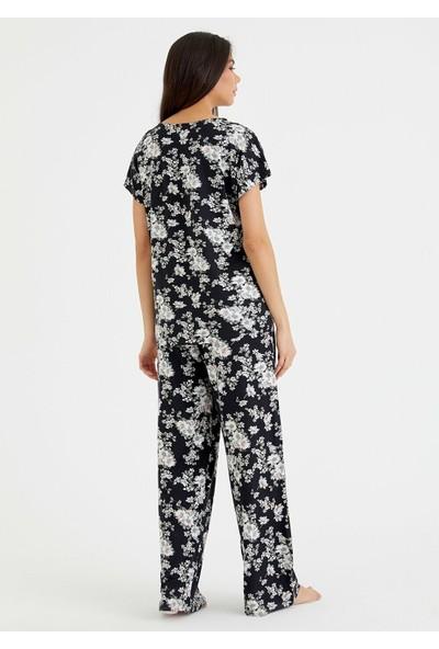 Suwen Black Rose Pijama Takımı - Siyah Baskılı M