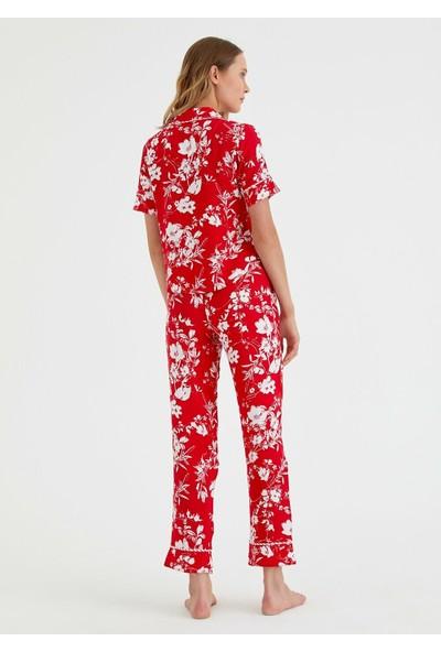 Suwen Red Line Maskulen Pijama Takımı - Kırmızı Baskılı M
