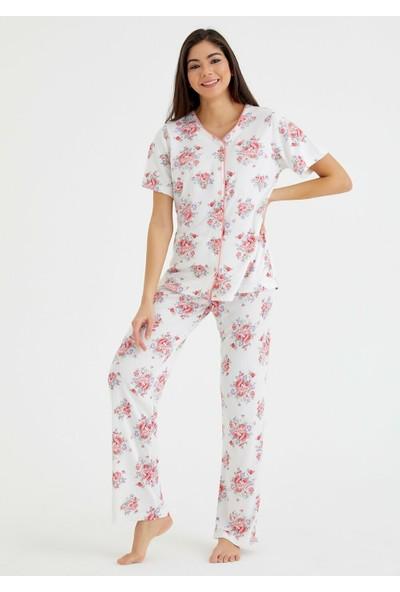 Suwen Elegance Maskulen Pijama Takımı - Çiçek Baskılı XL