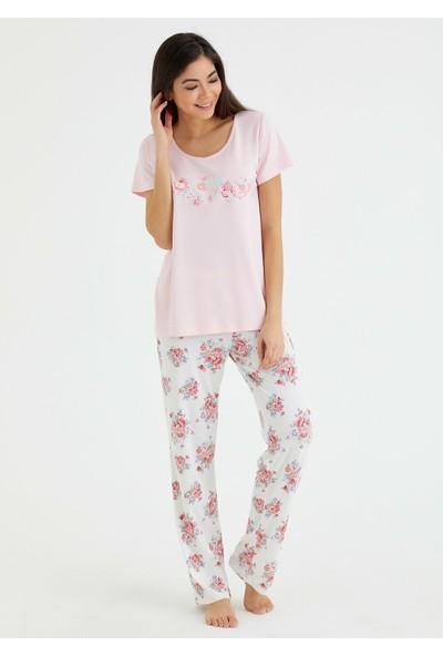 Suwen Elegance Pijama Takımı - Çiçek Baskılı XXXL