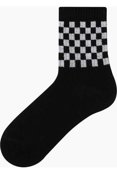Bross Dama Desenli Çocuk Çorabı Siyah
