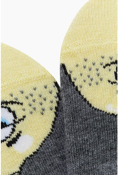 Bross Eğlenceli Meyve Desenli Babet Çocuk Çorabı Antrasit