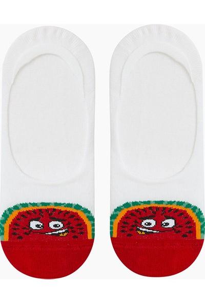 Bross Eğlenceli Meyve Desenli Babet Çocuk Çorabı Beyaz