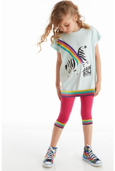 Denokids Mushi Rainbow Zebra Kız Tayt Takım
