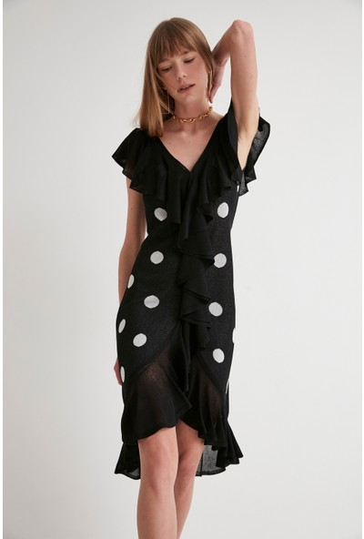 Join Us Puantiyeli Fırfırlı V Yaka Triko Elbise