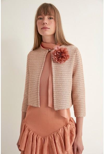 Join Us Çiçekli İnci Düğmeli Triko Ceket