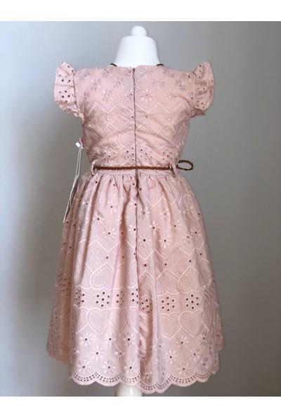 Tivido Pudra Pembe Fisto Kumaş Kolyeli Kız Çocuk Elbisesi