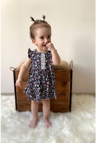 Colored Baby Kız Bebek Çiçek Desenli Penye Elbise