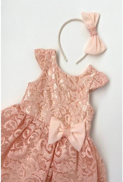 Colored Baby Kız Çocuk Pudra Dantel Elbise 2 Parça