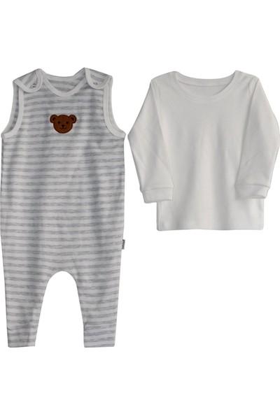 Bebek Odam Ayı Nakışlı Çizgili Salopet Takım - Gri