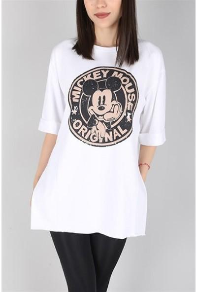 Latte WomanMickey Mouse Yırtmaçlı Salaş Tişört