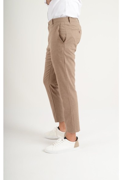 Luppo Club Keten Slim Fit Bej Erkek Pantolon