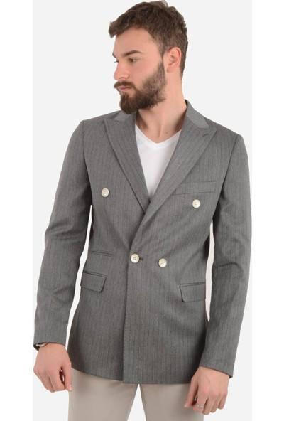 Luppo Club Kruvaze Çizgili Gri Erkek Ceket