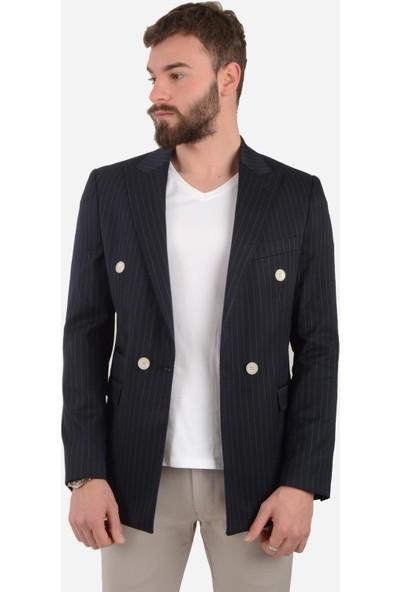 Luppo Club Kruvaze Çizgili Lacivert Erkek Ceket