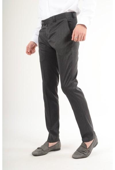 Luppo Club Plaza Çizgili Kumaş Füme Erkek Pantolon Vera