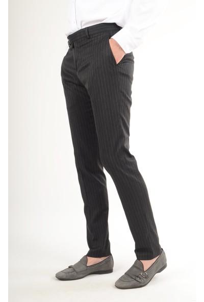 Luppo Club Plaza Çizgili Kumaş Siyah Erkek Pantolon Vera