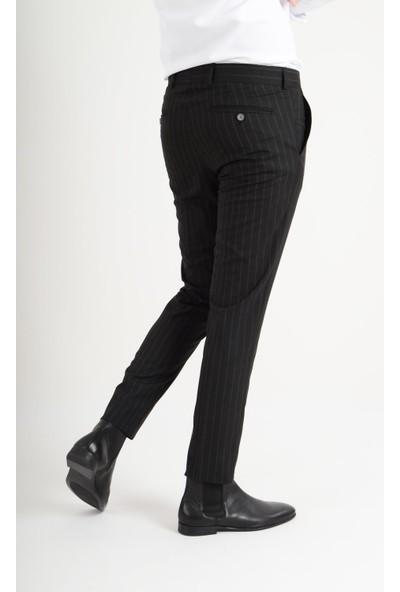 Luppo Club Plaza Kumaş Siyah Erkek Pantolon Silik Çizgi