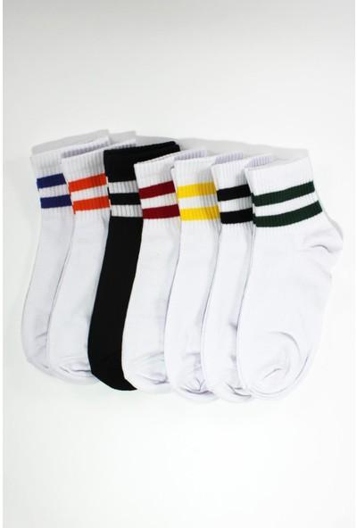 Trick Or Treat 7'li Paket Renkli Çizgili Pamuklu Yarım Konç Kadın Çorap