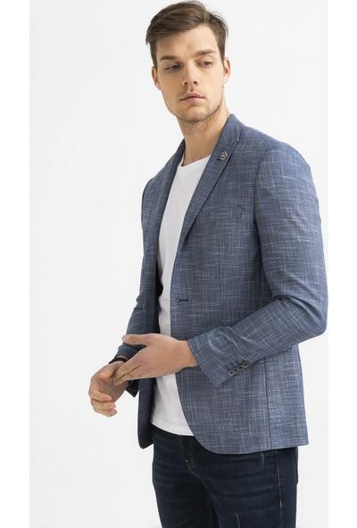Avva Erkek Mavi Kurtağzı Yaka Düz Slim Fit Cebi Kapaklı Ceket A01Y4024