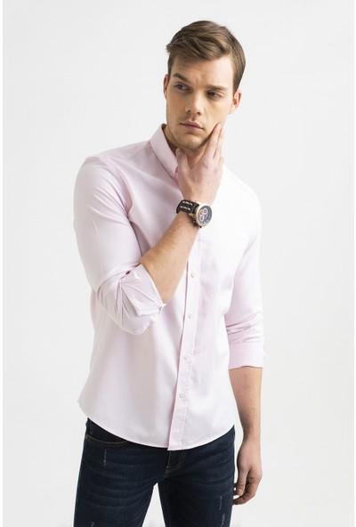 Avva Erkek Açık Pembe Oxford Klasik Yaka Slim Fit Gömlek A01S2272