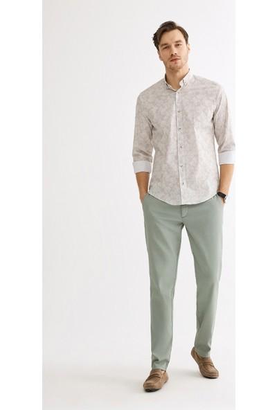 Avva Erkek Bej Çiçek Baskılı Düğmeli Yaka Slim Fit Gömlek A01S2224