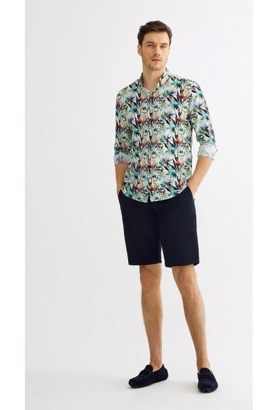 Avva Erkek Kiremit Baskılı Düğmeli Yaka Slim Fit Gömlek A01Y2125