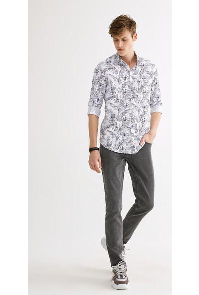Avva Erkek Açık Kahve Baskılı Düğmeli Yaka Slim Fit Gömlek A01Y2135