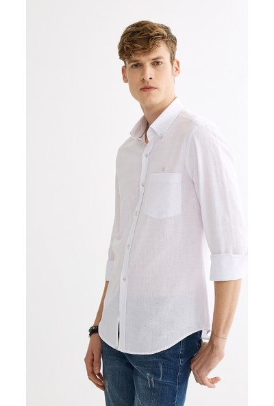 Avva Erkek Beyaz Armürlü Düğmeli Yaka Cepli Slim Fit Gömlek A01Y2015