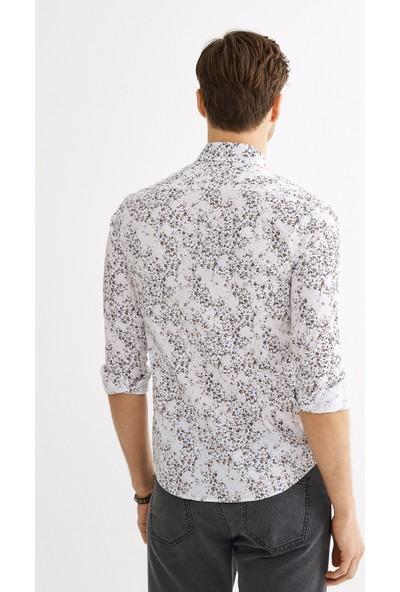 Avva Erkek Kahve Baskılı Düğmeli Yaka Slim Fit Gömlek A01Y2133