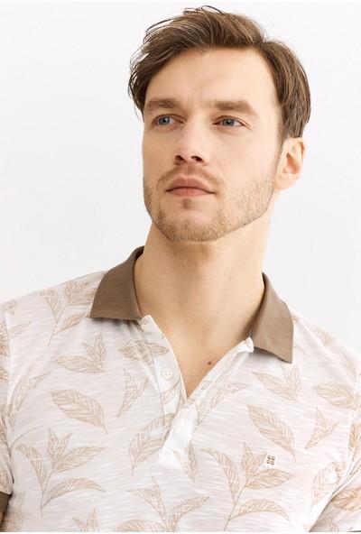 Avva Erkek Bej Polo Yaka Baskılı T-Shirt A01S1237