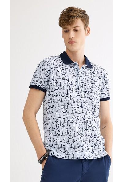 Avva Erkek Mavi Polo Yaka Baskılı T-Shirt A01S1208