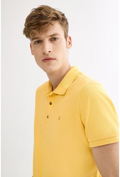 Avva Erkek Sarı Polo Yaka Düz T-Shirt A01B1174