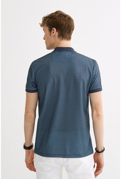 Avva Erkek İndigo Polo Yaka Baskılı T-Shirt A01Y1017