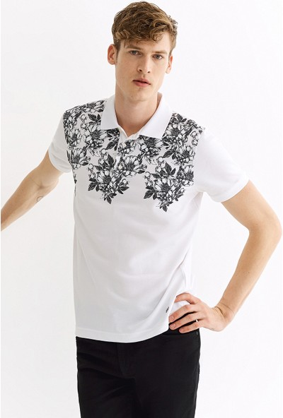 Avva Erkek Beyaz Polo Yaka Baskılı T-Shirt A01Y1100