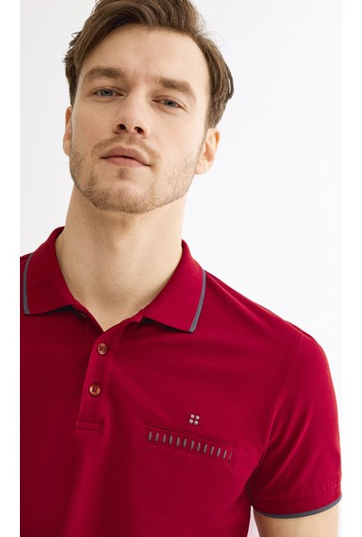 Avva Erkek Bordo Polo Yaka Düz Cepli T-Shirt A01S1273