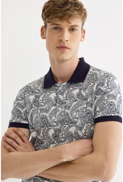 Avva Erkek Lacivert Polo Yaka Baskılı T-Shirt A01S1201