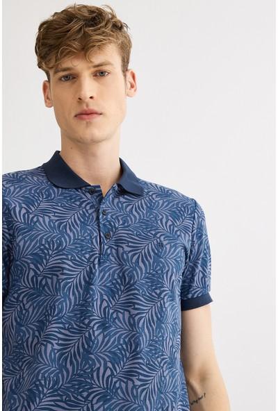 Avva Erkek İndigo Polo Yaka Baskılı T-Shirt A01S1212