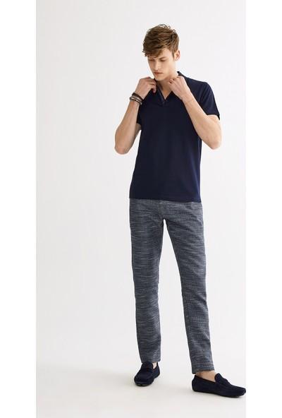Avva Erkek Lacivert Polo Yaka Jakarlı T-Shirt A01Y1043