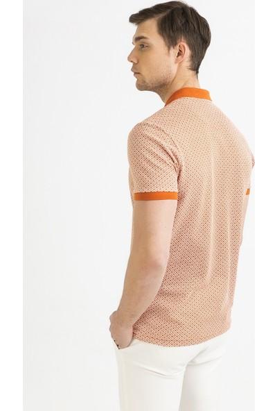 Avva Erkek Turuncu Polo Yaka Baskılı T-Shirt A01Y1052