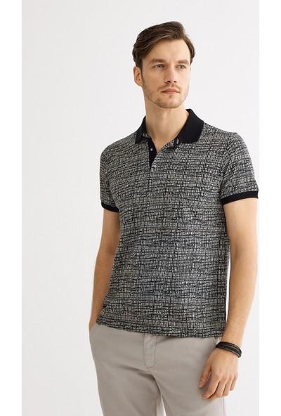 Avva Erkek Siyah Polo Yaka Jakarlı T-Shirt A01Y1040