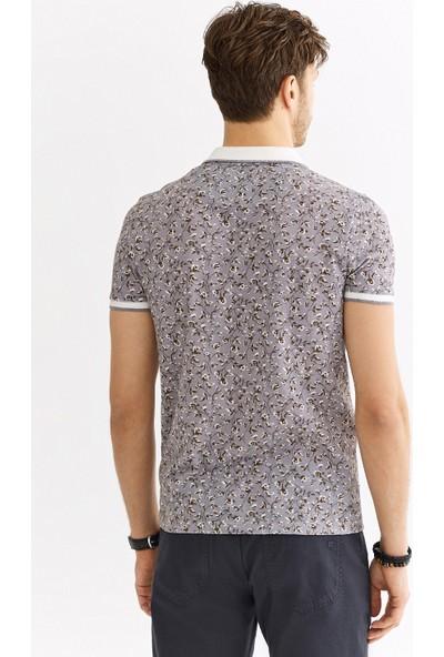 Avva Erkek Gri Polo Yaka Baskılı T-Shirt A01Y1049