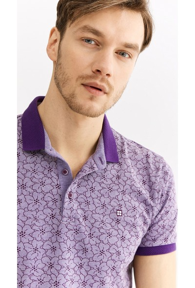 Avva Erkek Mor Polo Yaka Çiçek Baskılı T-Shirt A01Y1005