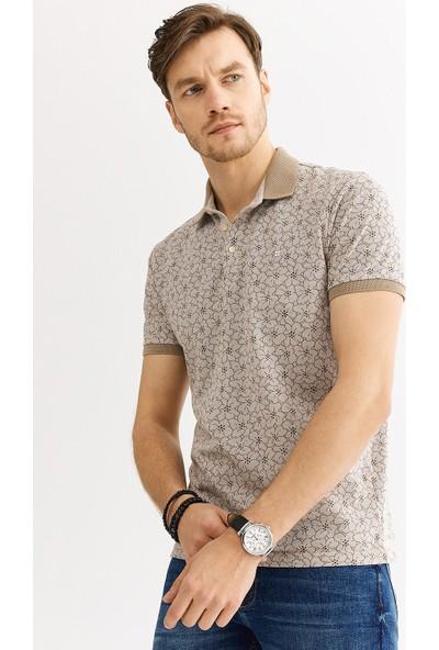 Avva Erkek Bej Polo Yaka Çiçek Baskılı T-Shirt A01Y1005
