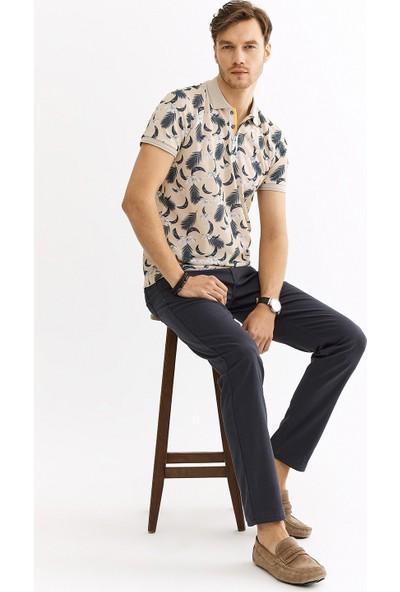 Avva Erkek Bej Polo Yaka Baskılı T-Shirt A01Y1015