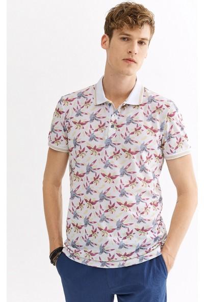 Avva Erkek Beyaz Polo Yaka Baskılı T-Shirt A01Y1011